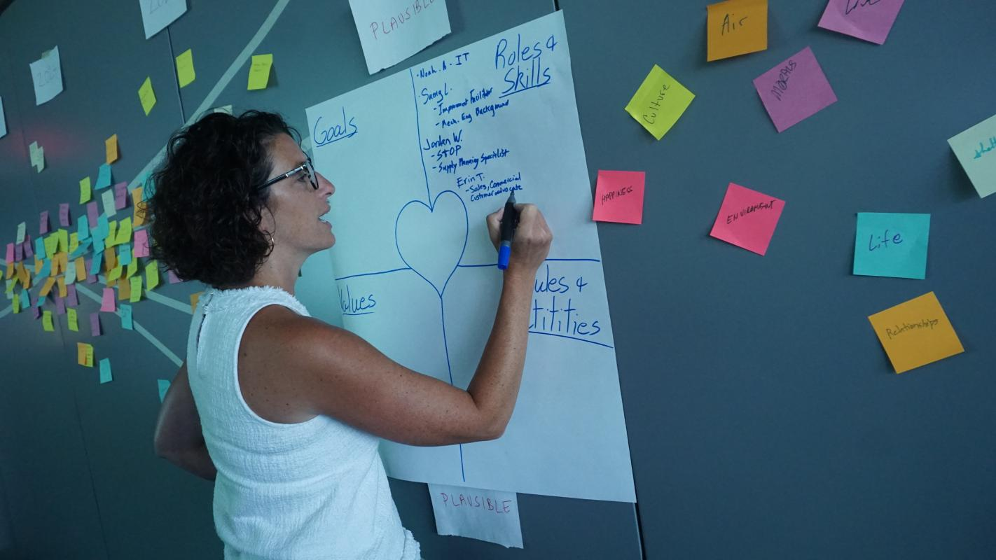 Trentel experiments with ideation during the first GMAKERS masterclass at North America headquarters in Tampa, Florida.