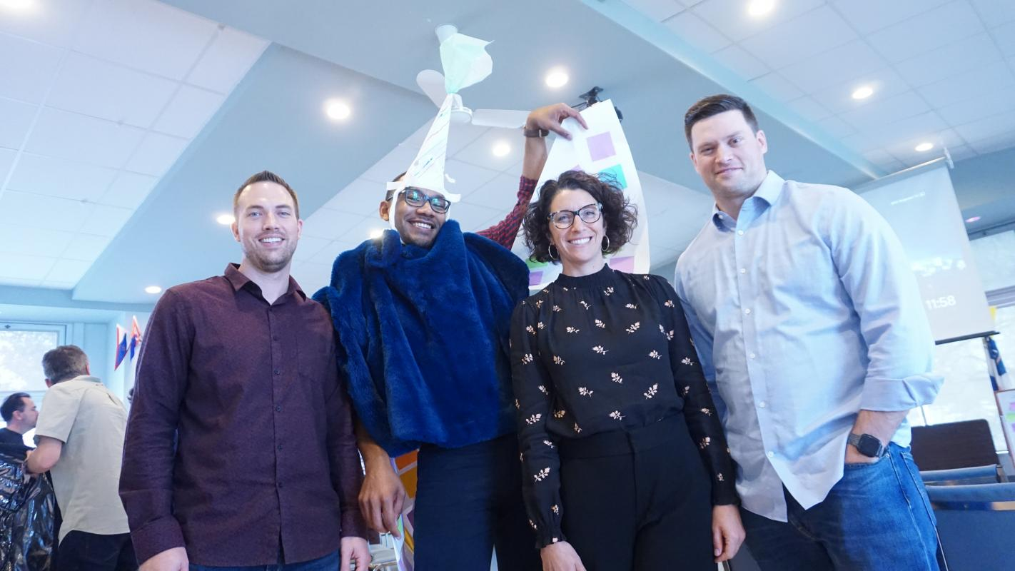 Trentel and her team dress Noah Allen as a unicorn during an Agile sprint exercise